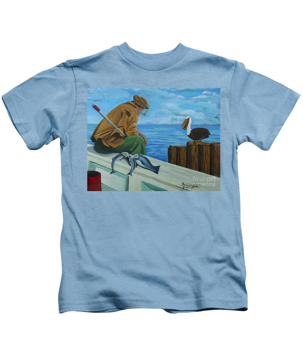 Seascape Kids T-Shirt featuring the painting The Fishing Buddies by Anthony Dunphy