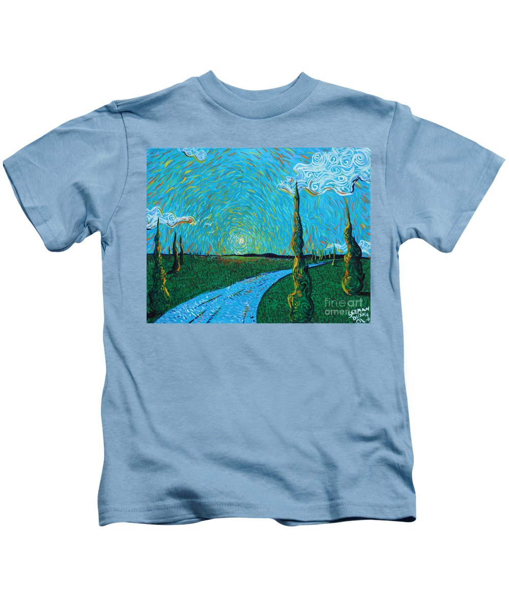 Landscape Kids T-Shirt featuring the painting The Long Blue Road by Stefan Duncan