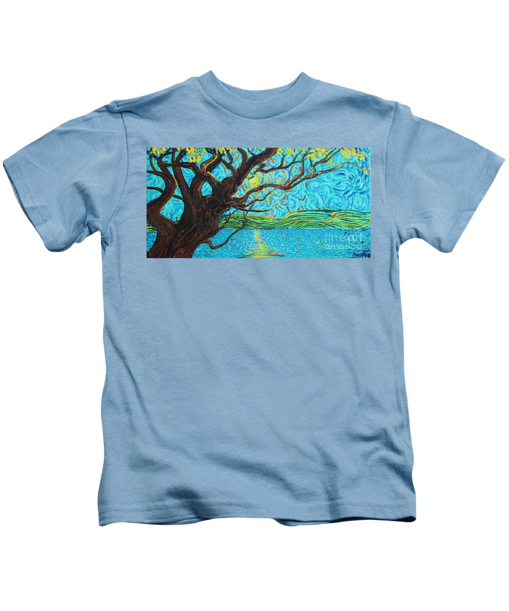 Landscape Kids T-Shirt featuring the painting The Mermaid Tree by Stefan Duncan