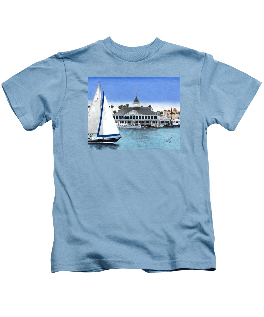 Pavilion Kids T-Shirt featuring the painting The Pavilion by Tom Popplewell