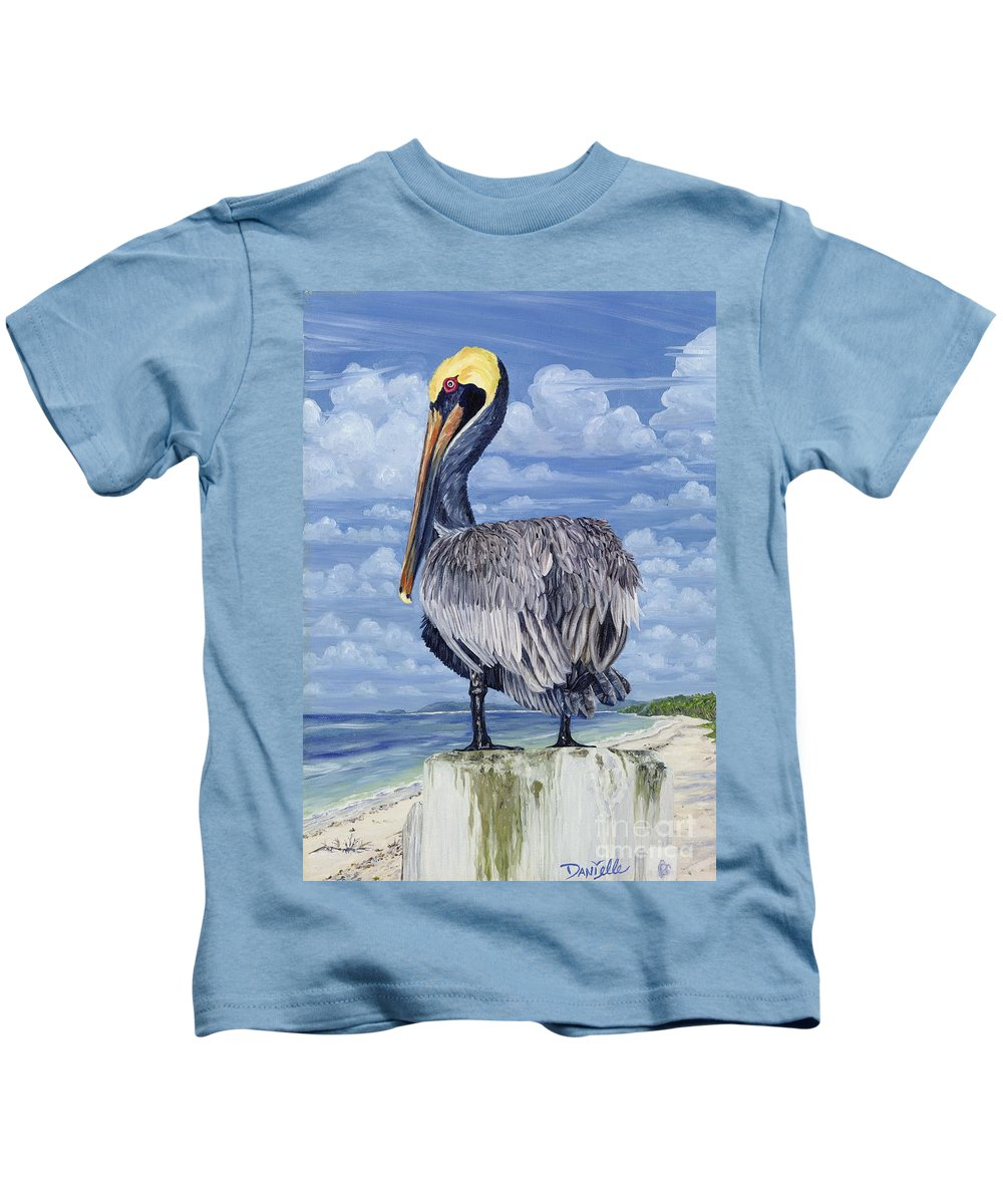 Seascape Kids T-Shirt featuring the painting Pelican Perch by Danielle Perry