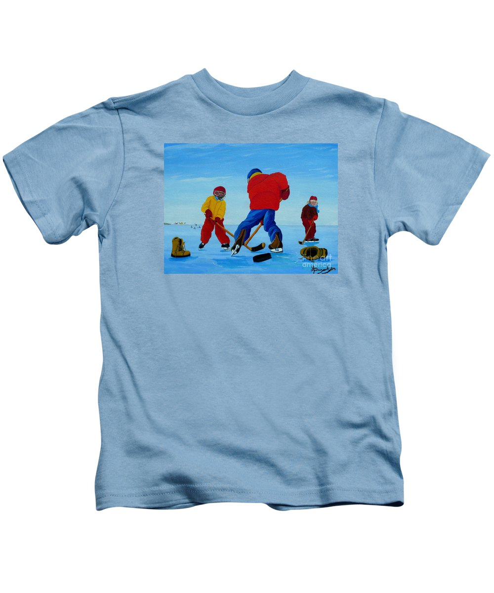 Winter Kids T-Shirt featuring the painting The Pond Hockey Game by Anthony Dunphy