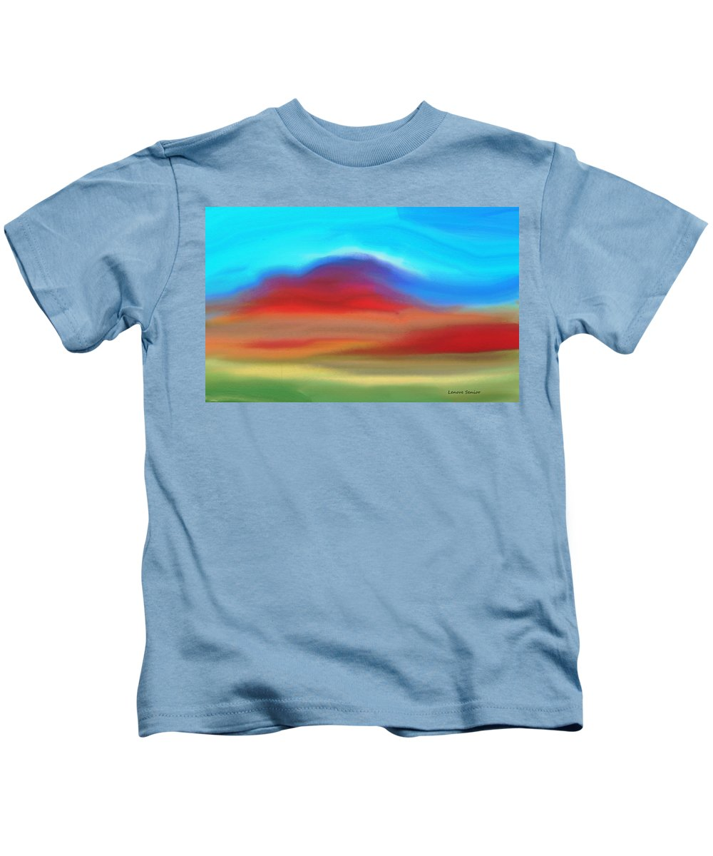 Abstract Kids T-Shirt featuring the painting The Red Earth by Lenore Senior