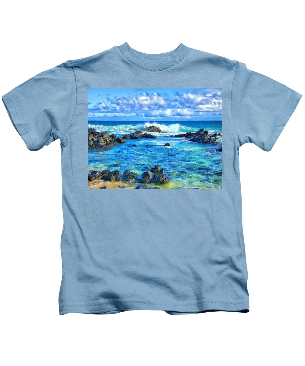 Tidepool Kids T-Shirt featuring the painting Tide Pool Near Hana Maui by Dominic Piperata