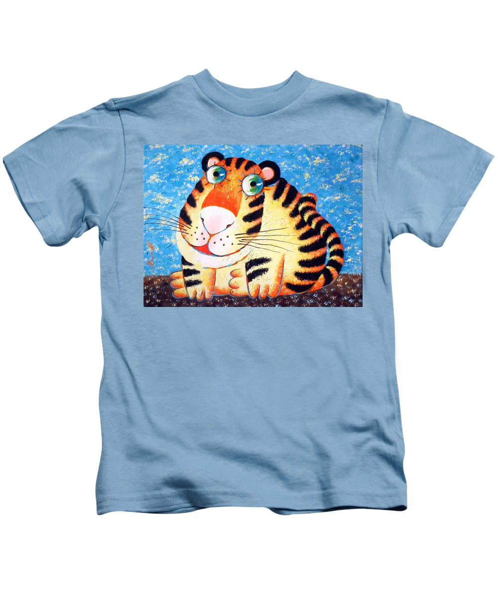 Tiger Kids T-Shirt featuring the painting Tiger by Sergey Lipovtsev