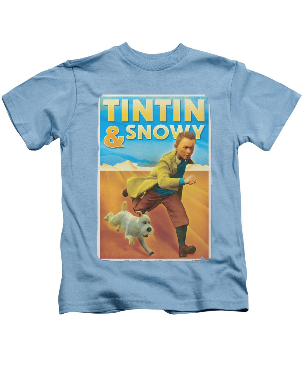 The Adventures Of Tintin Kids T-Shirt featuring the digital art Tintin - Tintin And Snowy by Brand A