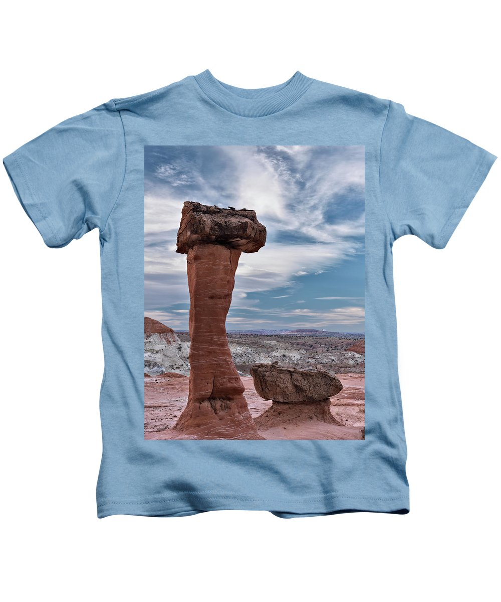 Balance Kids T-Shirt featuring the photograph Toad Stool Formations by Leland D Howard