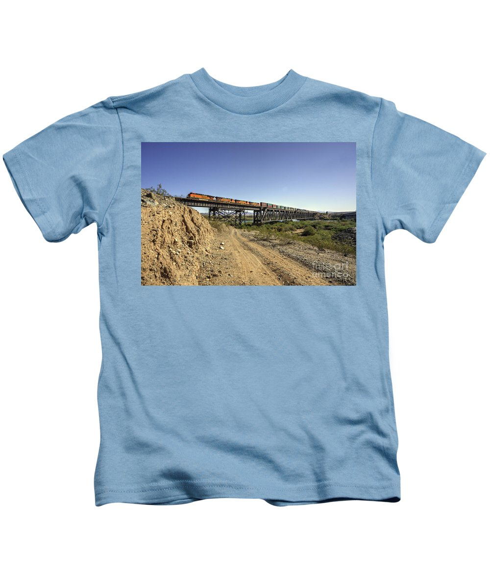 Bnsf Kids T-Shirt featuring the photograph Topock Bridge Freight by Rob Hawkins