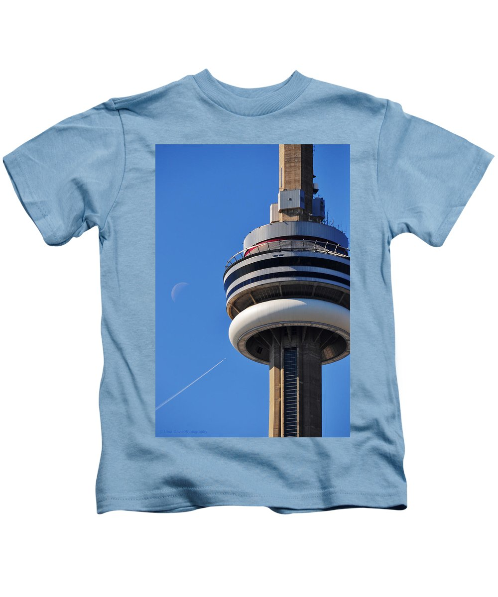 Toronto Kids T-Shirt featuring the photograph Toronto Cn Tower Moon And Jet Trail by Ursa Davis