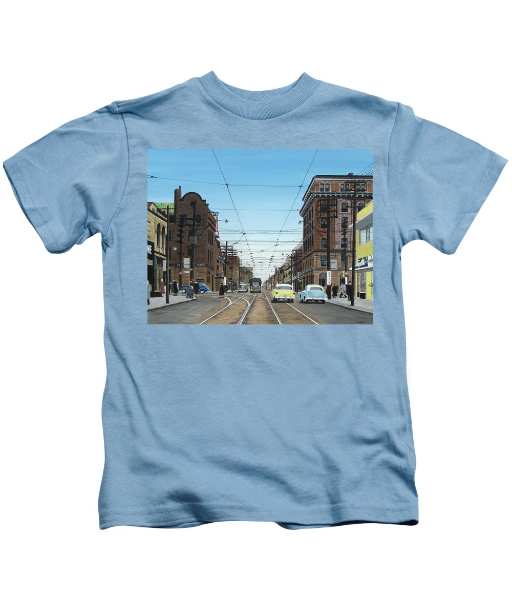Streetscapes Kids T-Shirt featuring the painting Toronto Yonge And Bloor 1954 by Kenneth M Kirsch