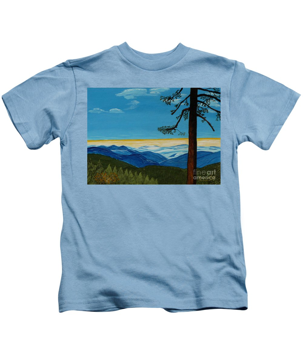 Mountain Kids T-Shirt featuring the painting Tranquil Solitude by Anthony Dunphy