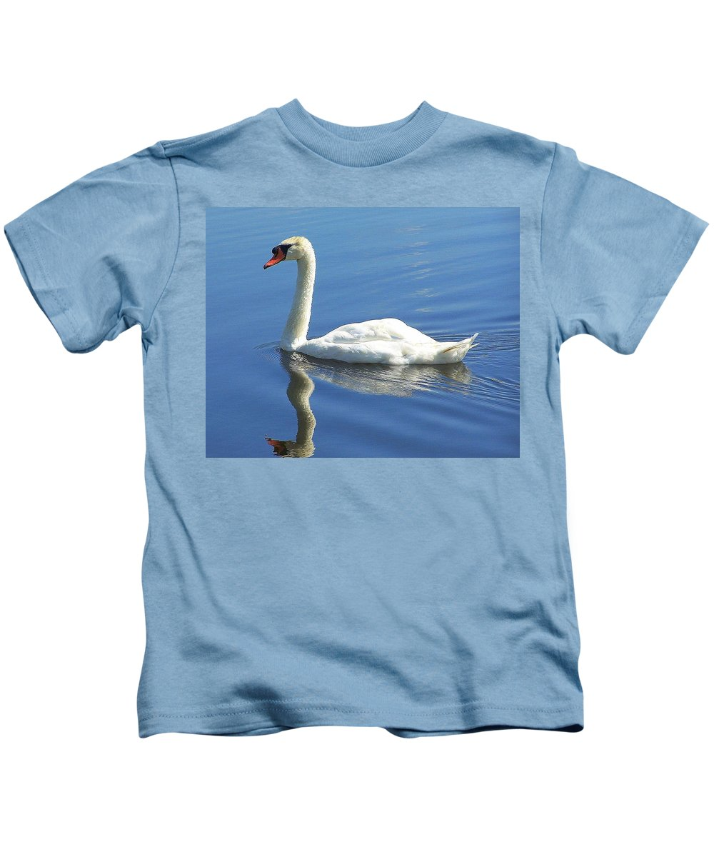Swan Kids T-Shirt featuring the photograph Tranquility by Frozen in Time Fine Art Photography