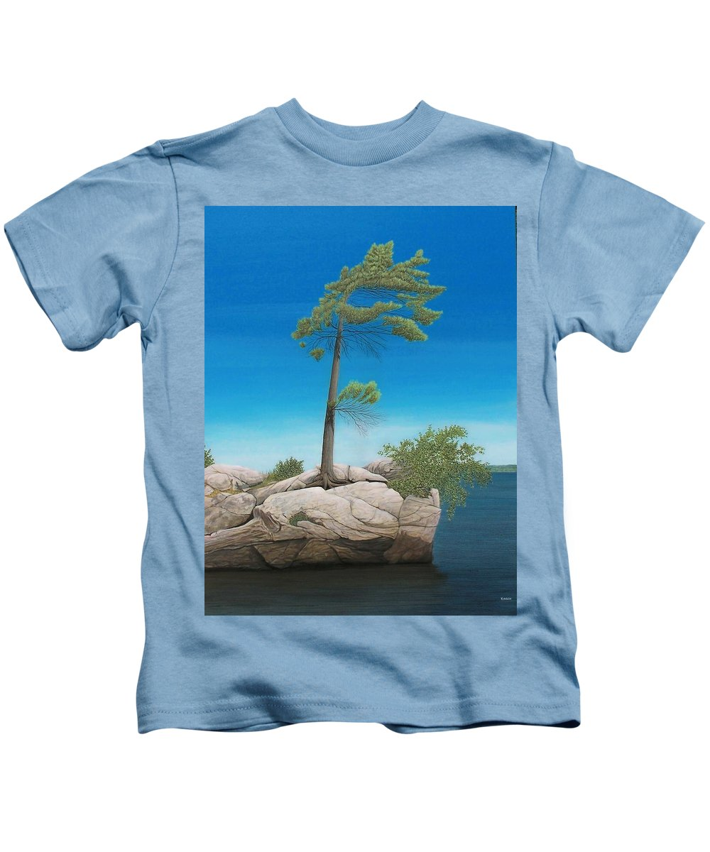 Landscapes Kids T-Shirt featuring the painting Tree In Rock by Kenneth M Kirsch