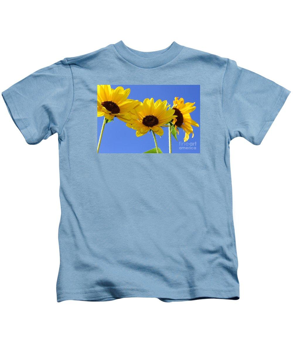 Daisy Kids T-Shirt featuring the photograph Trio In The Sun - Yellow Daisies By Diana Sainz by Diana Raquel Sainz