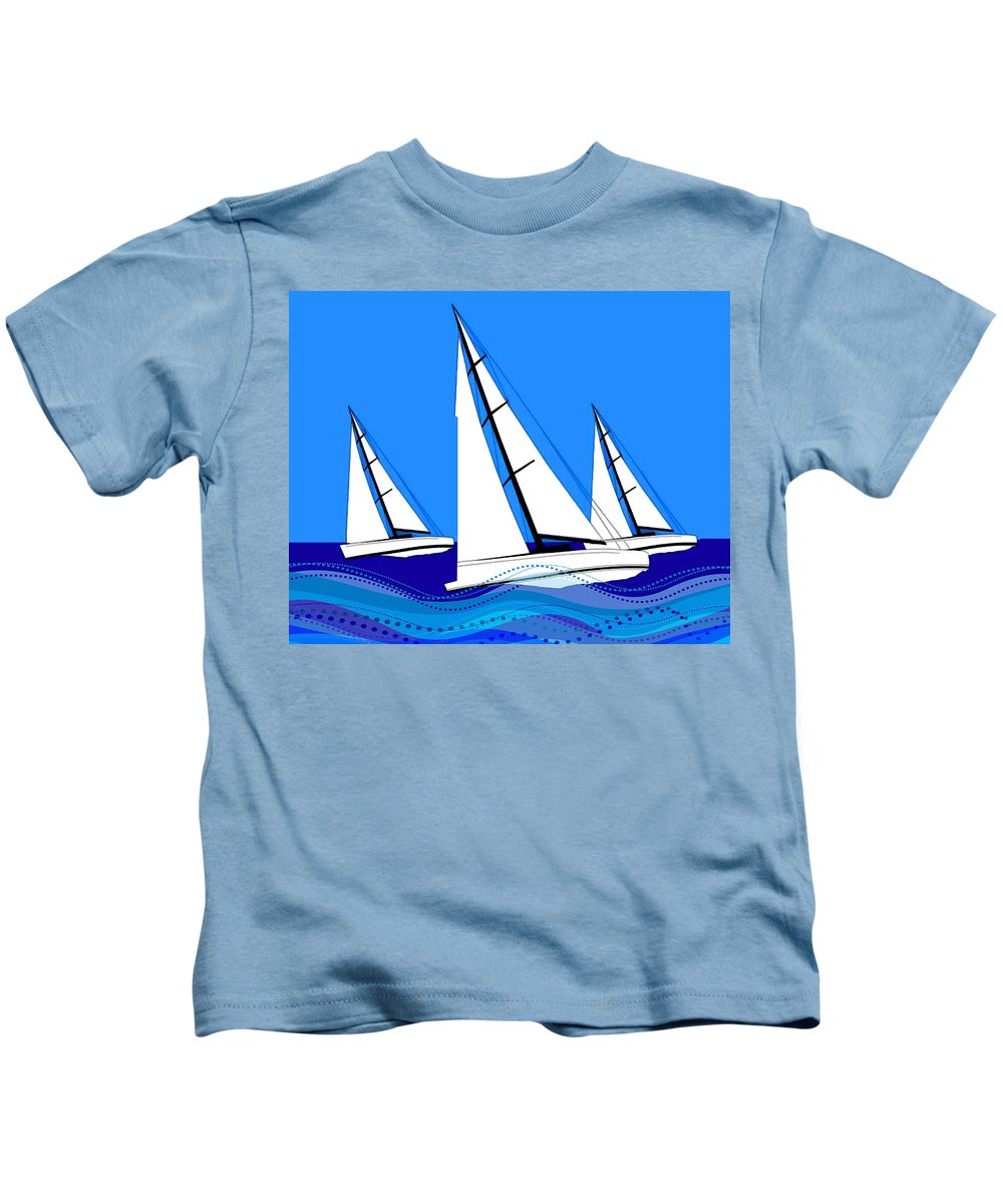 Boats Kids T-Shirt featuring the painting Trio Of Sailboats by Elaine Plesser