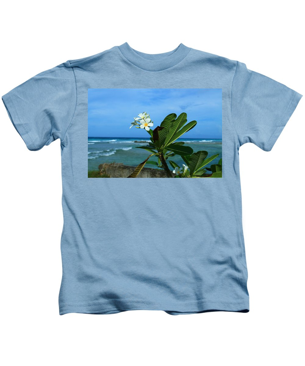 Plumeria Kids T-Shirt featuring the photograph Tropical Flowers by Catie Canetti