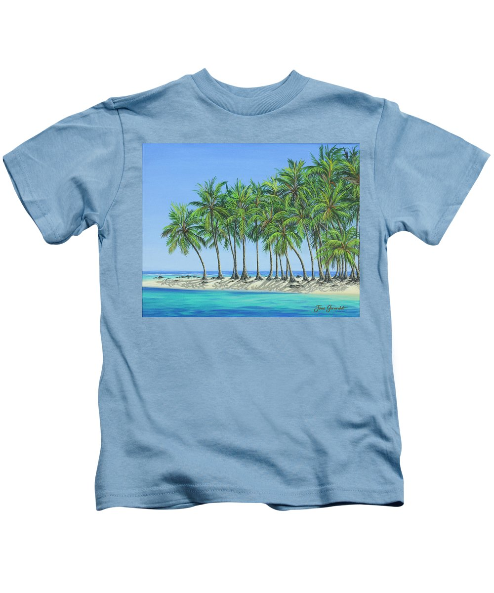 Ocean Kids T-Shirt featuring the painting Tropical Lagoon by Jane Girardot