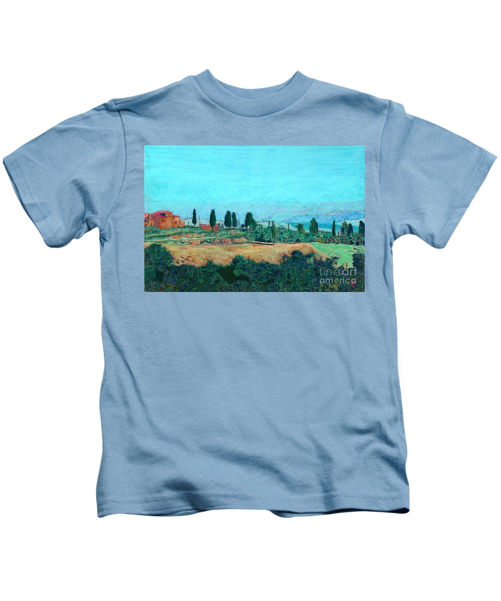Landscape Kids T-Shirt featuring the painting Tuscan Farm by Allan P Friedlander