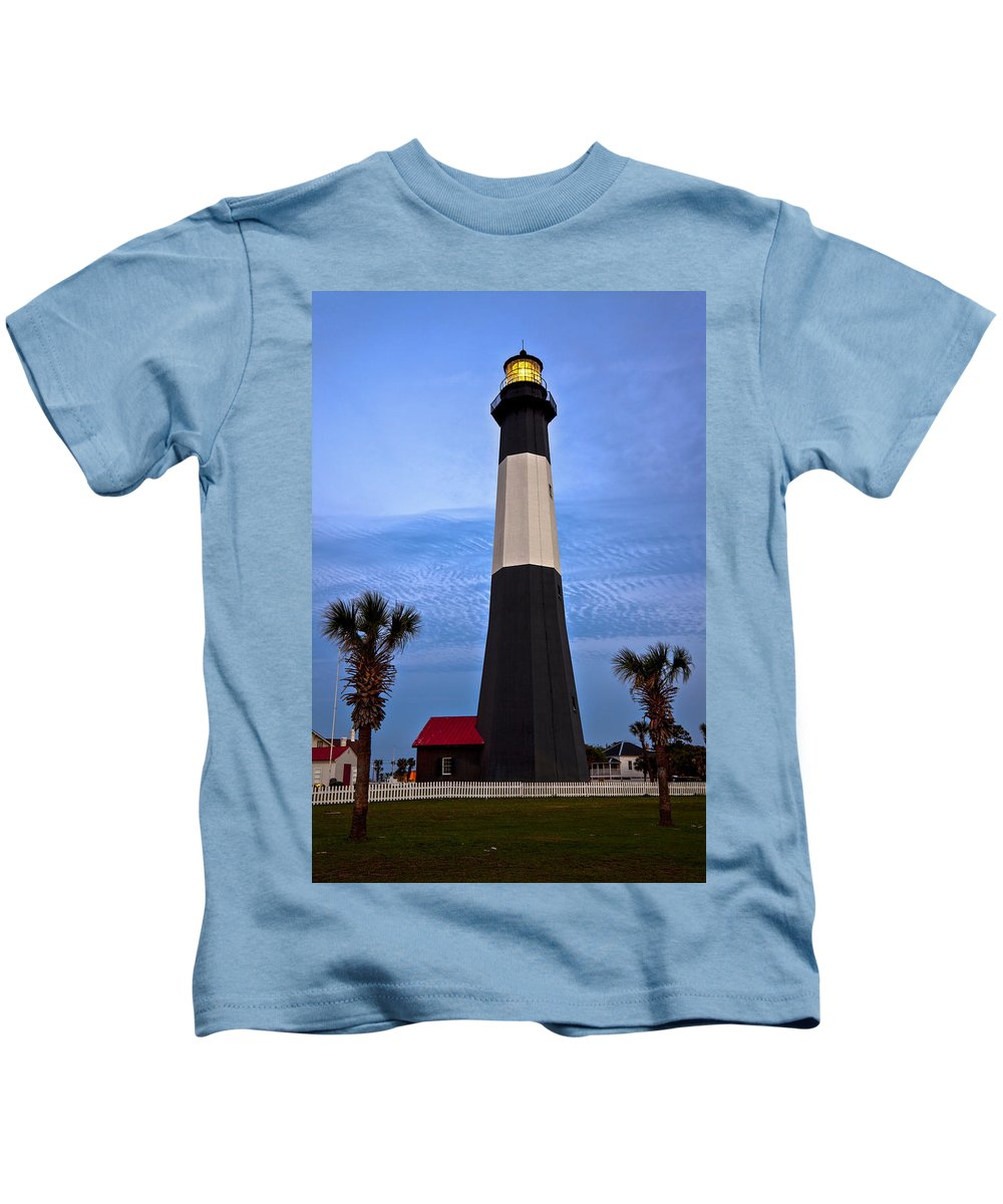 Tybee Island Kids T-Shirt featuring the photograph Tybee Light And Palms by Diana Powell