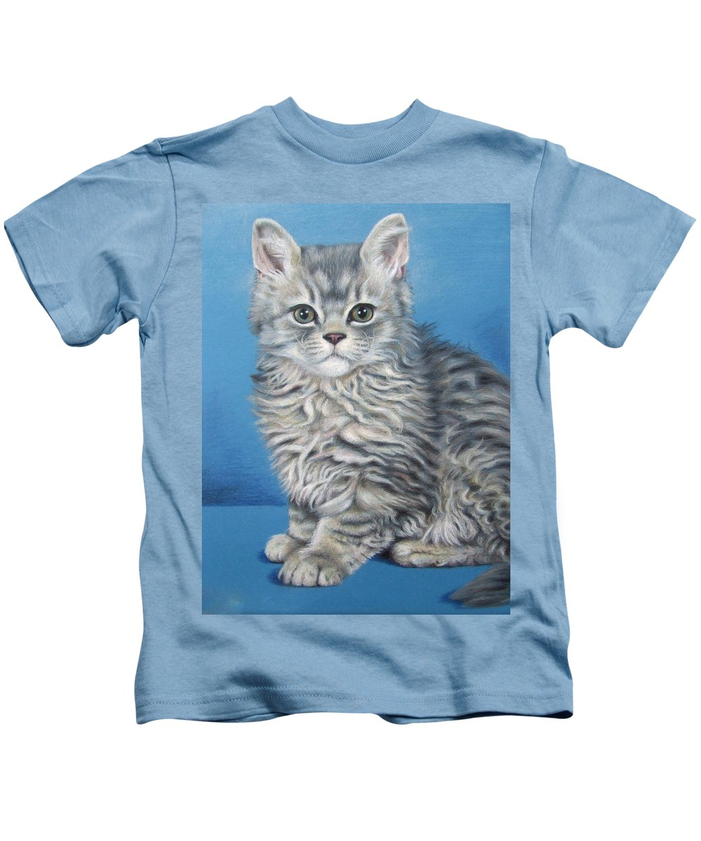 Cat Kids T-Shirt featuring the drawing Velvet Kitten by Nicole Zeug