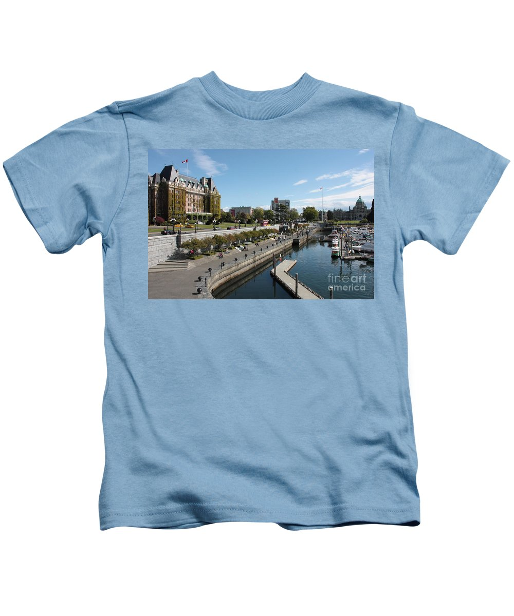 Victoria Kids T-Shirt featuring the photograph Victoria Harbour With Empress Hotel by Carol Groenen