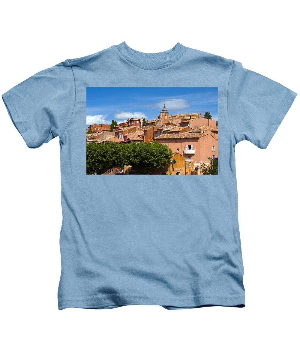 Roussillon France Provence Window Windows Shutter Shutters City Cities Cityscape Cityscapes Building Buildings Structures Architecture House Houses Kids T-Shirt featuring the photograph Village View by Bob Phillips
