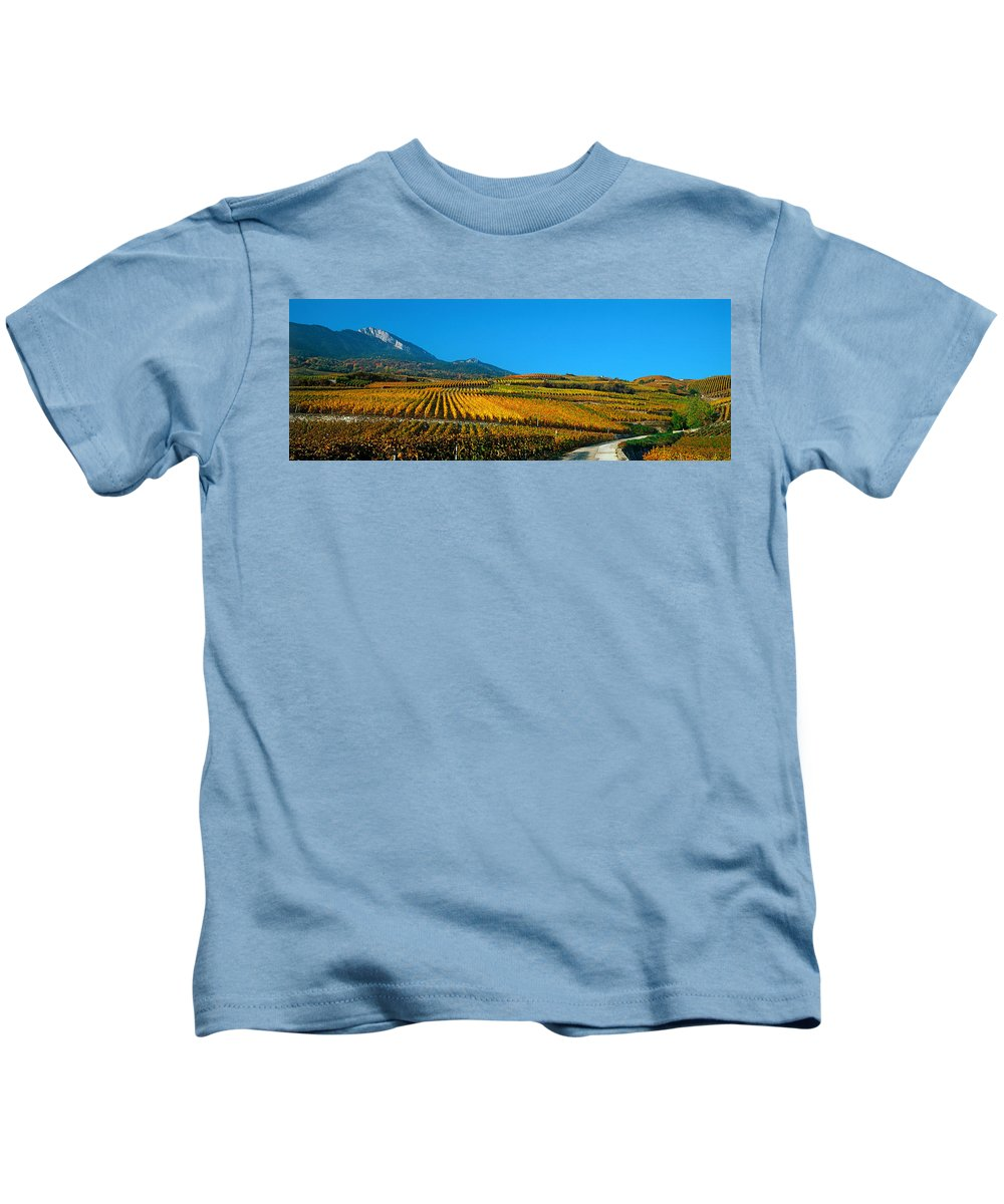 Photography Kids T-Shirt featuring the photograph Vineyards In Autumn, Valais Canton by Panoramic Images