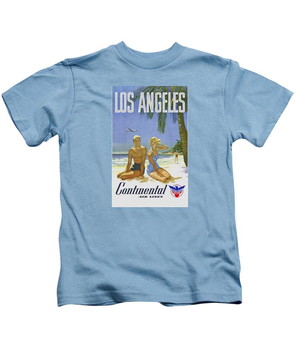 'los Angeles Kids T-Shirt featuring the digital art Vintage Los Angeles Travel Poster by Joy McKenzie
