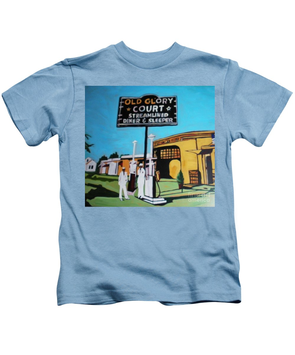 Vintage Americana On Route 66 Was Filled With Many Diner Sleepers. An Image Perhaps From The Early 50's Can Allow You To Imagine And Escape To A Time Past. Kids T-Shirt featuring the painting Vintage Route 66 Diner Sleeper by Rebecca Lou Mudd