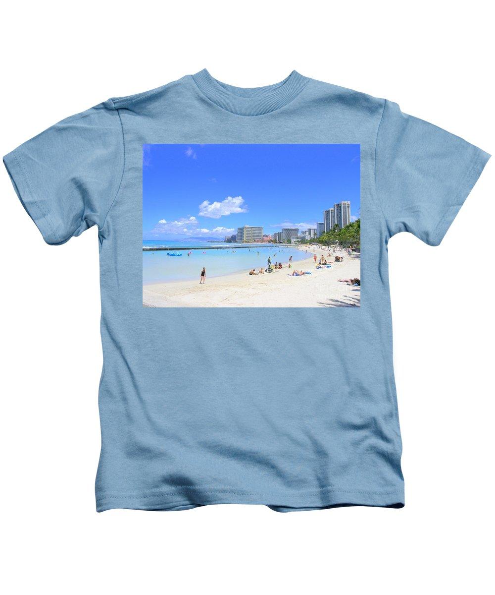 Beach Kids T-Shirt featuring the photograph Waikiki Beach by Mary Deal