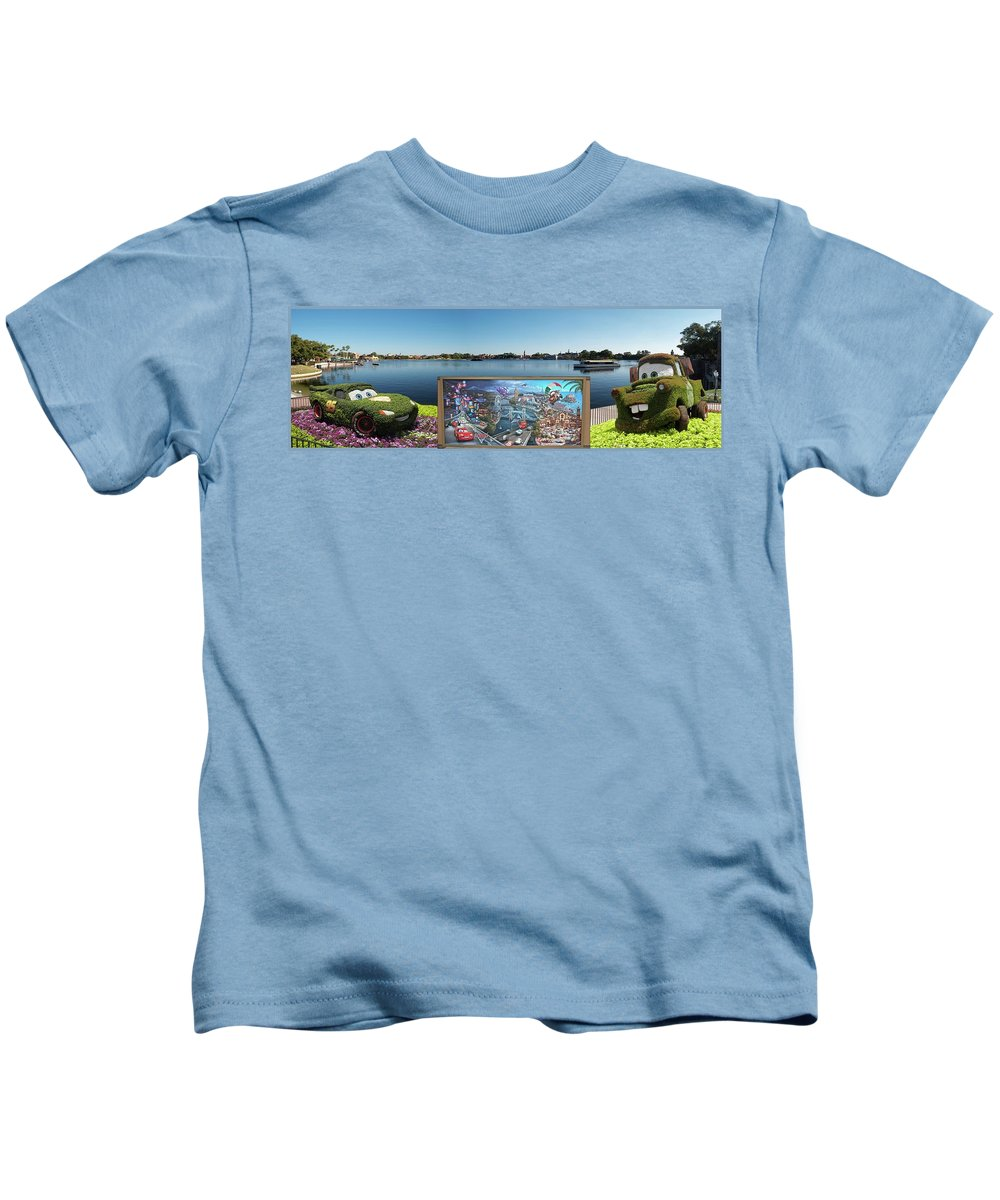 Composite Kids T-Shirt featuring the photograph Walt Disney World Cars 2 Digital Art Composite 02 by Thomas Woolworth