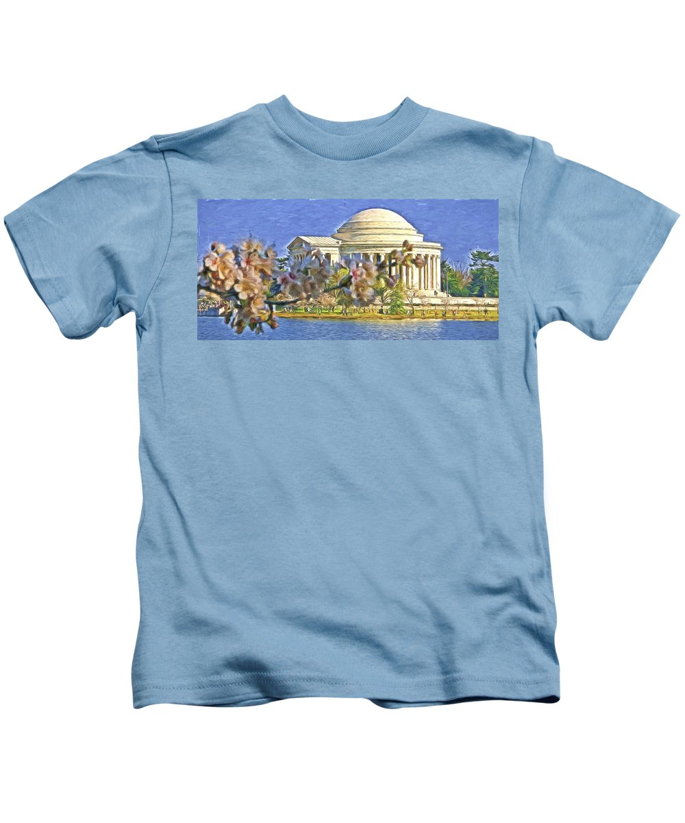 Washington Kids T-Shirt featuring the photograph Washington Cherry Blossoms by Alice Gipson