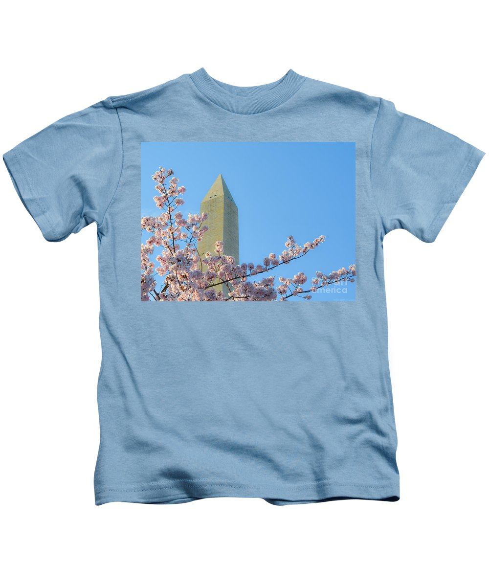 2012 Centennial Celebration Kids T-Shirt featuring the photograph Washington Monument With Blossoms by Jeff at JSJ Photography