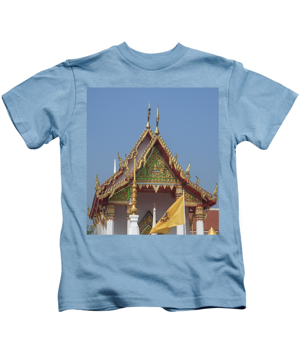 Scenic Kids T-Shirt featuring the photograph Wat Kampaeng Phra Ubosot Gable Dtha0143 by Gerry Gantt