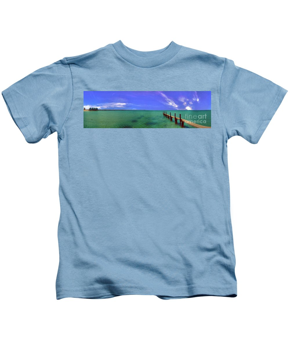 Western Australia; Beach Perth Panorama; Margaret River; Southern Hemisphere; Longest Wooden Jetty Kids T-Shirt featuring the photograph Western Australia Busselton Jetty by David Zanzinger