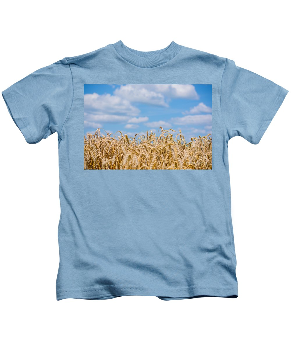 Clouds Kids T-Shirt featuring the photograph Wheat Field Cloudscape by Cheryl Baxter