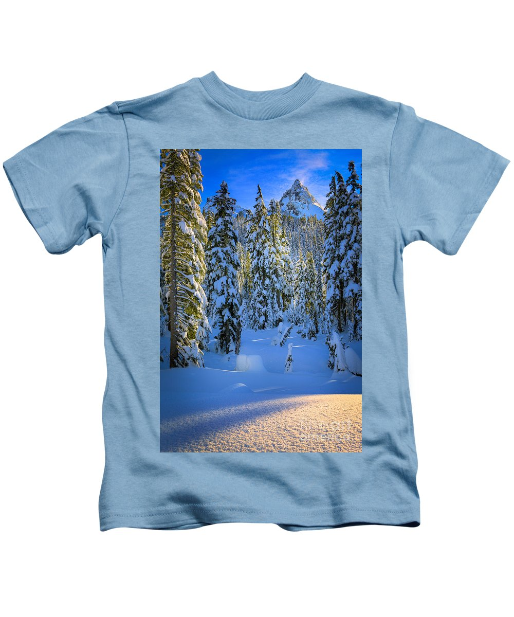 America Kids T-Shirt featuring the photograph Winter Forest by Inge Johnsson