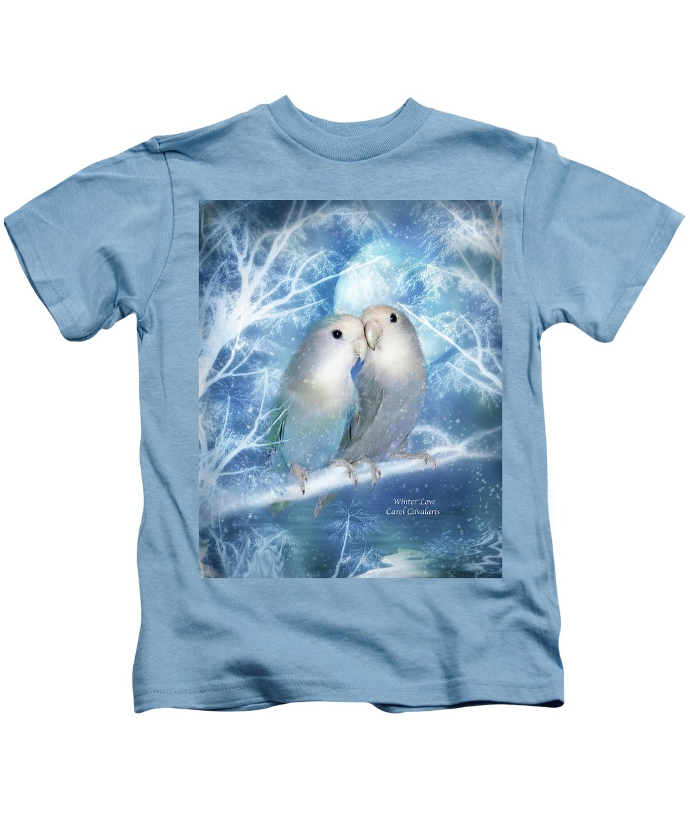 Lovebirds Kids T-Shirt featuring the mixed media Winter Love by Carol Cavalaris