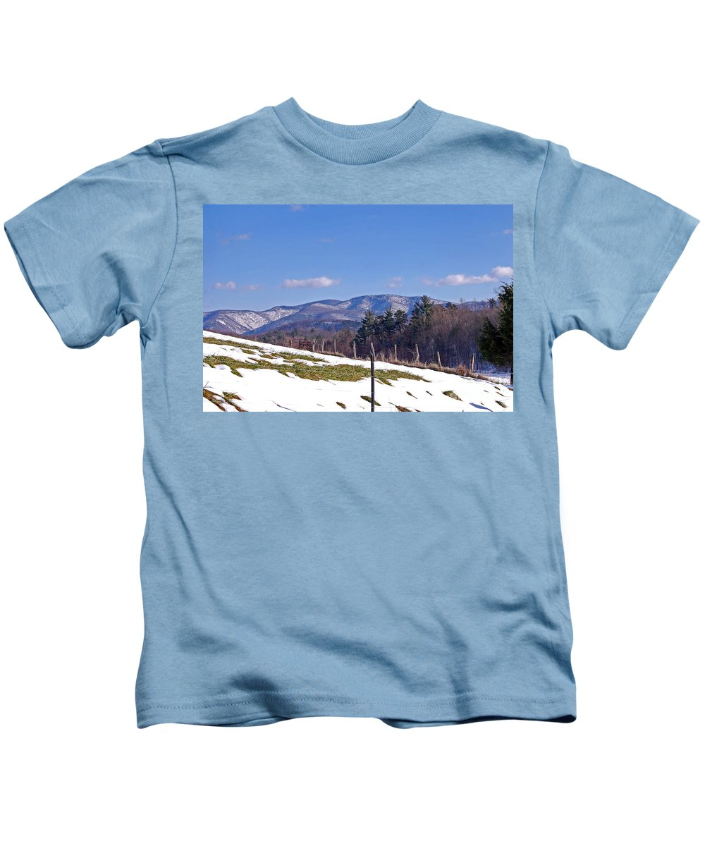 Scenic Tours Kids T-Shirt featuring the photograph Winter On The Blue Ridge by Skip Willits