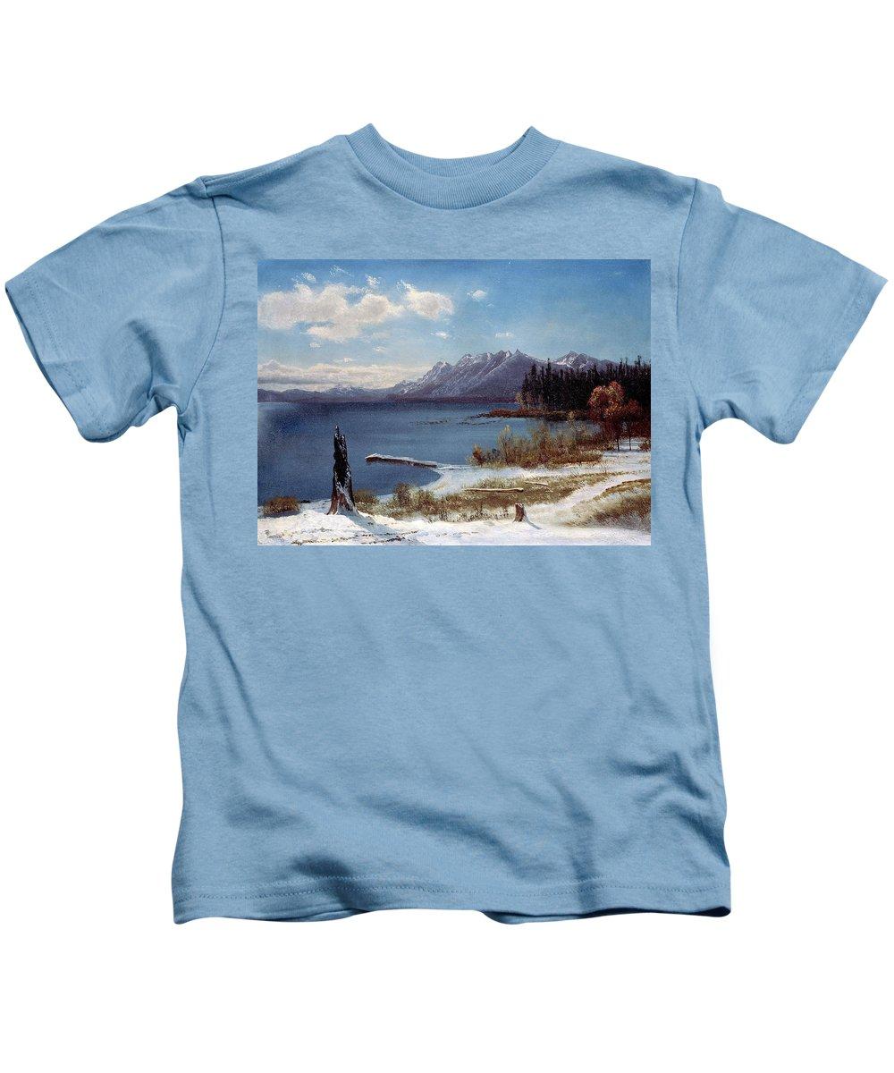 Albert Bierstadt Kids T-Shirt featuring the painting Wintertime Lake Tahoe In Winter The Sierra Nevada California by Albert Bierstadt
