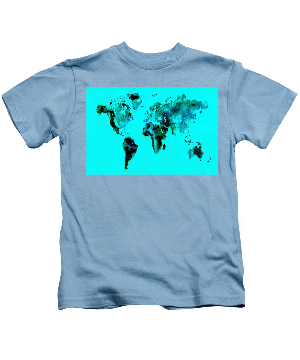 Splats Kids T-Shirt featuring the digital art World Map 15 by Brian Reaves