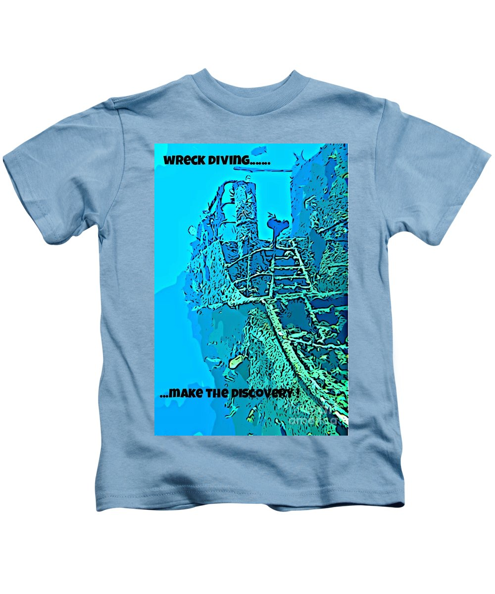 Scuba Diving Art Kids T-Shirt featuring the photograph Wreck Diving Make The Discovery by John Malone