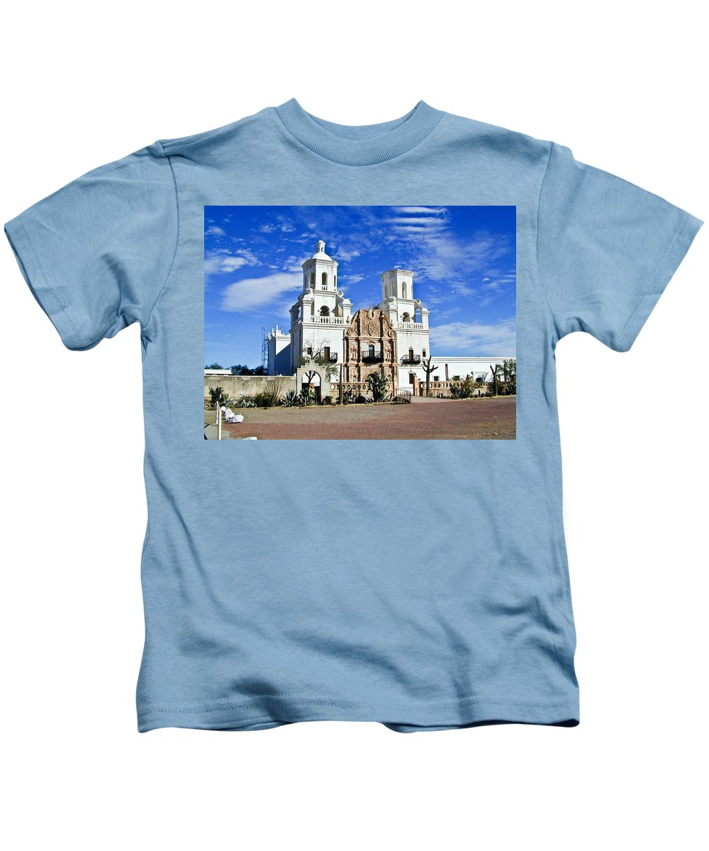 Mission San Xavier Del Bac Kids T-Shirt featuring the photograph Xavier Tucson Arizona by Douglas Barnett