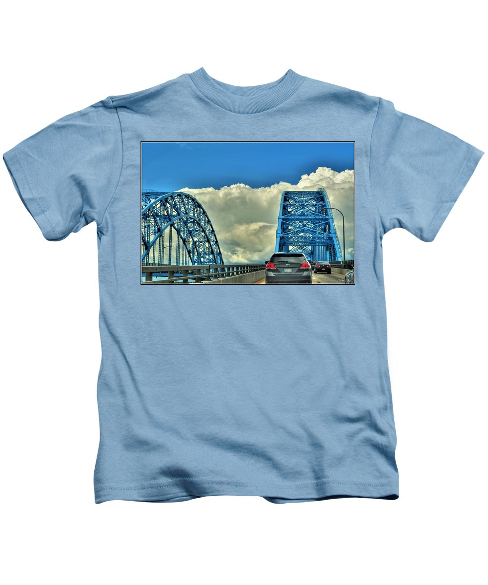 Kids T-Shirt featuring the photograph 005 Grand Island Bridge Series by Michael Frank Jr