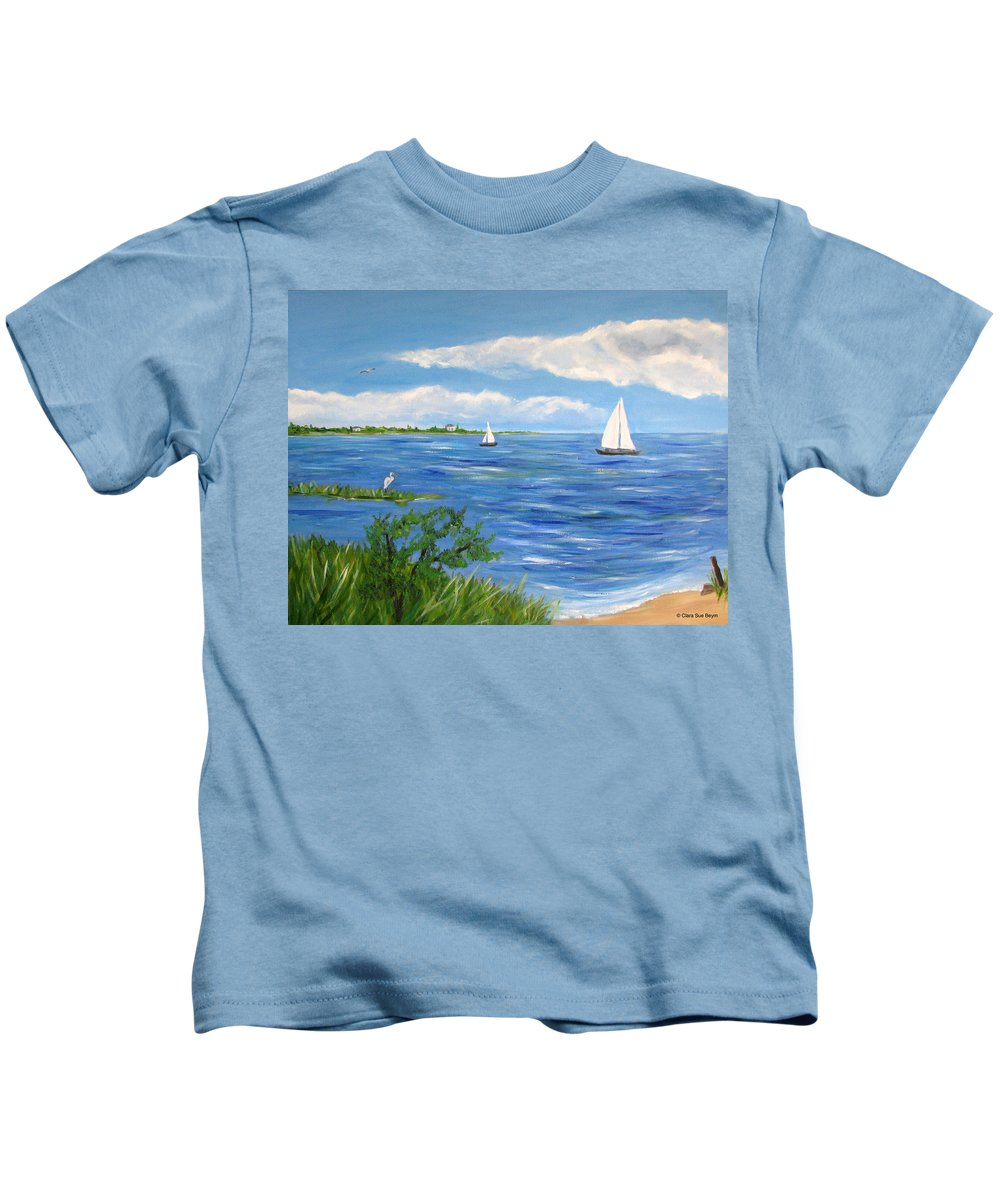 Sailboat Kids T-Shirt featuring the painting Bayville 2 by Clara Sue Beym