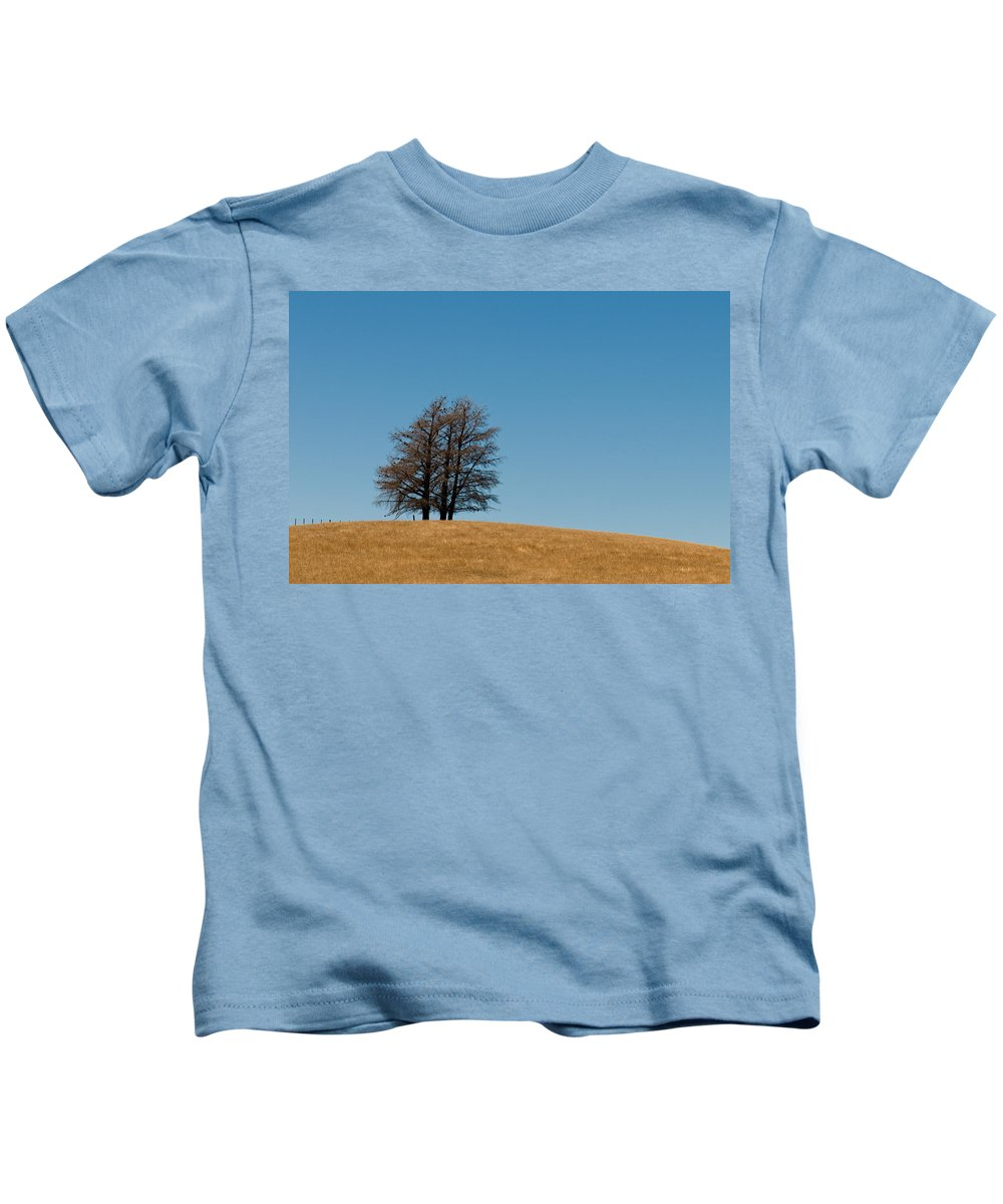 Agriculture Kids T-Shirt featuring the photograph Tree Formation On A Hill by U Schade