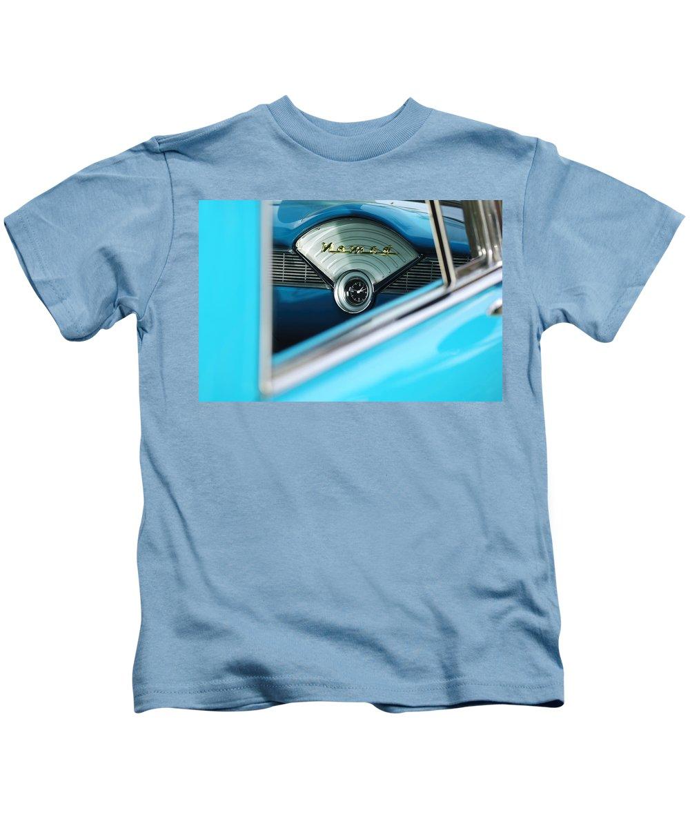 1956 Chevrolet Belair Nomad Kids T-Shirt featuring the photograph 1956 Chevrolet Belair Nomad Dashboard Clock by Jill Reger