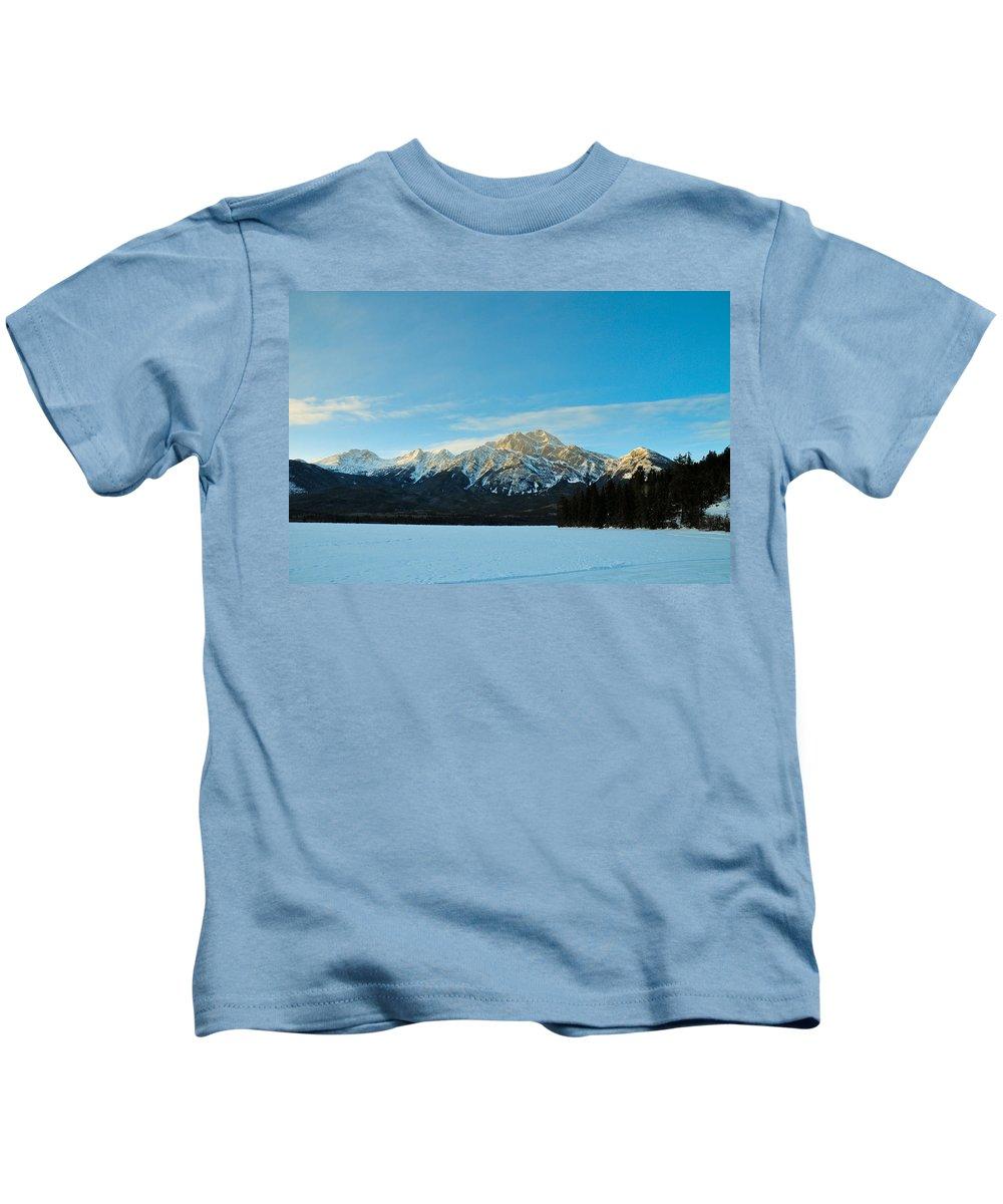 Alp Kids T-Shirt featuring the photograph Illuminated Winter Landscape By The Sun by U Schade
