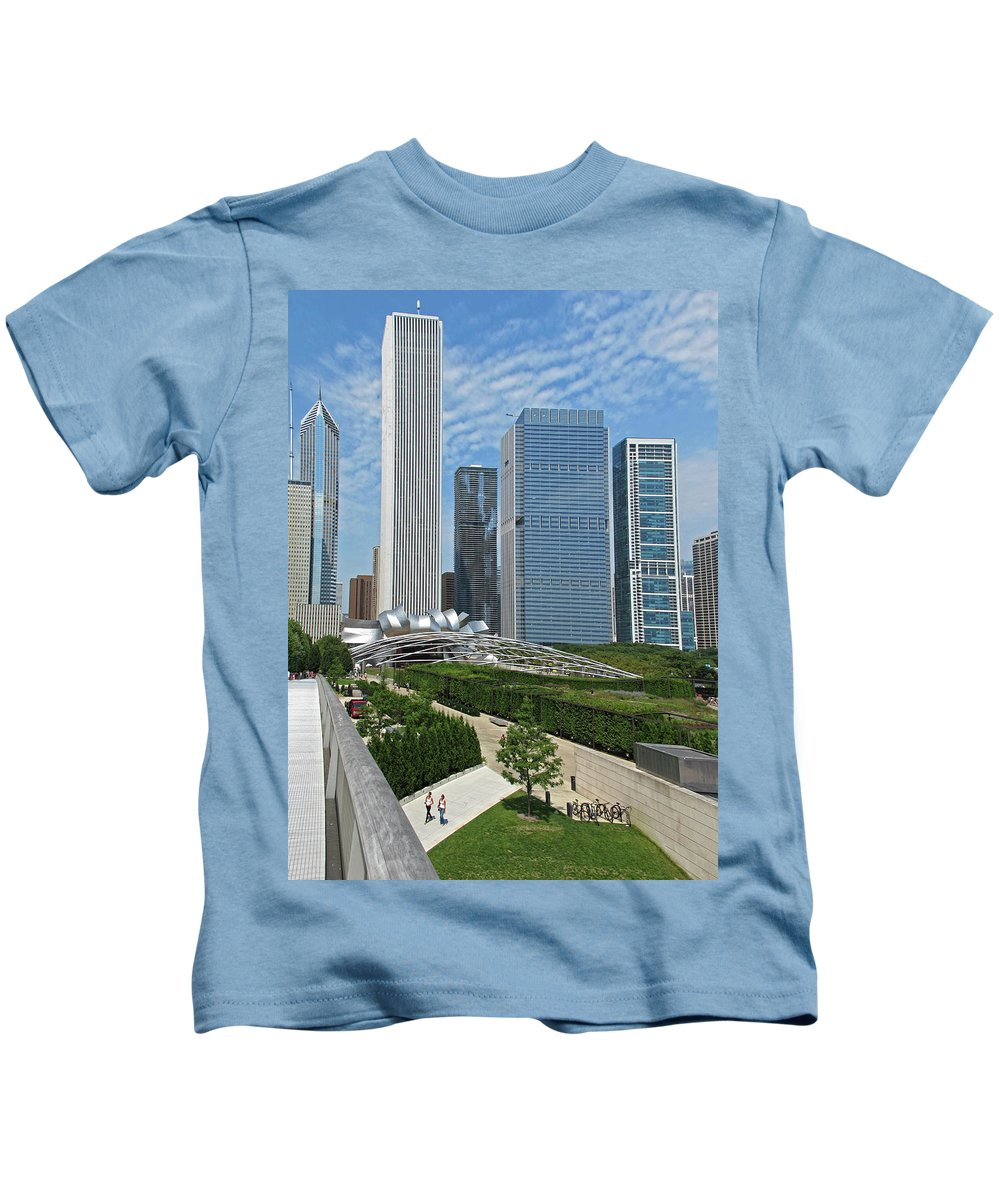 Chicago Kids T-Shirt featuring the photograph A Chicago View by Dave Mills