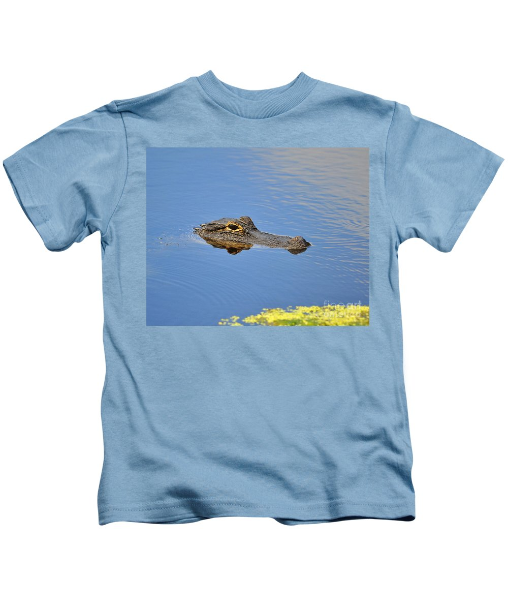 Alligator Kids T-Shirt featuring the photograph Alligator Afloat by Al Powell Photography USA